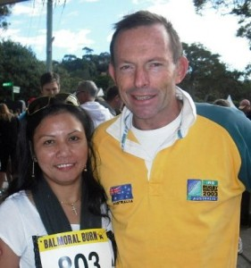 Venus Priest and Liberal Party leader Tony Abbott